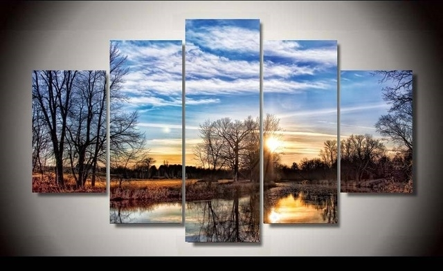 Unframed Printed Natural Scenery 5 Piece Wall Art Room Decor Poster For 5 Piece Wall Art (View 18 of 25)