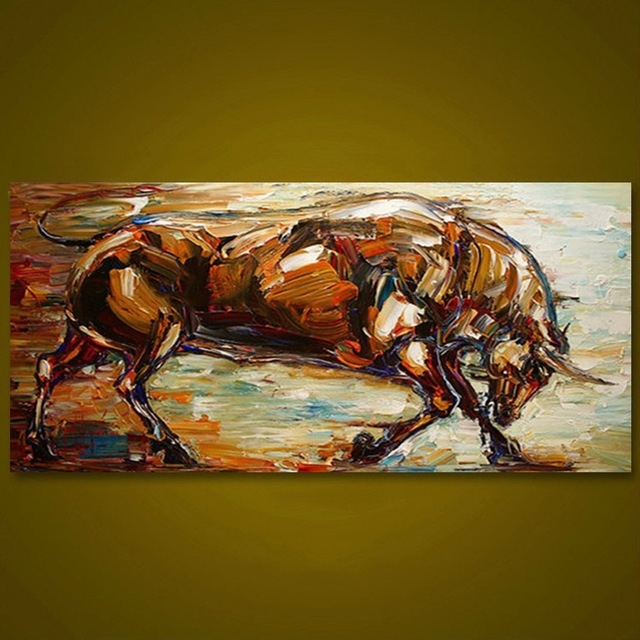 Unframed Strong Bull Hand Painted Oil Painting Wall Art Canvas Intended For Modern Abstract Painting Wall Art (Image 23 of 25)