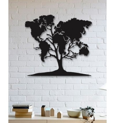 Unique Custom Designed Wall Decoration Product,world Map On Tree Regarding Wall Tree Art (Photo 11 of 20)