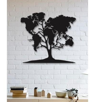 Unique Custom Designed Wall Decoration Product,world Map On Tree Regarding Wall Tree Art (Photo 11 of 20)