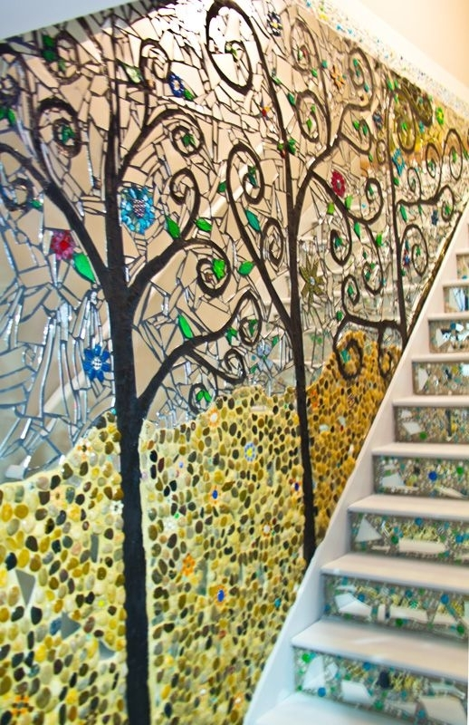 Unique Stairway Décor Ideas | Mosaics | Pinterest | Mosaic Wall Art with regard to Mirror Mosaic Wall Art