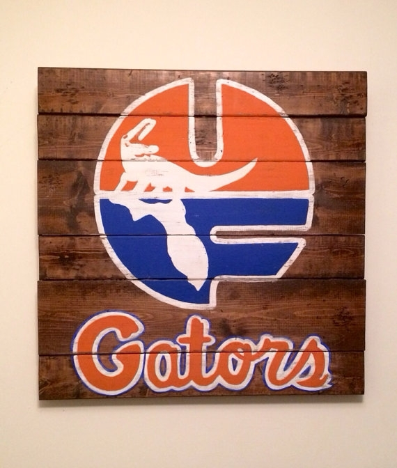 University Of Florida Wall Hanging On Etsy $50 00 Florida Gator Wall Regarding Florida Wall Art (View 12 of 20)