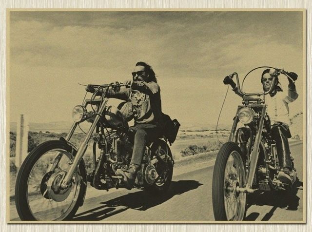 Usa Route 66 Rider Motorcycle Kraft Paper Poster Retro Wall Art With Motorcycle Wall Art (Image 24 of 25)