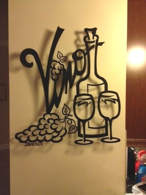 Vino For Two – Metal Wall Art – Home Decor – Transitional – Metal Within Home Wall Art (View 25 of 25)