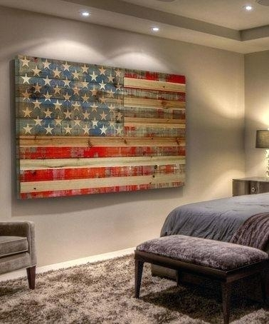 Vintage American Flag Wall Art Distressed American Dream Wood Wall With Regard To Vintage American Flag Wall Art (Photo 3 of 25)