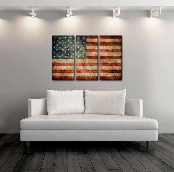 Vintage American Flag Wall Art Fresh Items Similar To Triptych With Regard To Vintage American Flag Wall Art (Image 21 of 25)