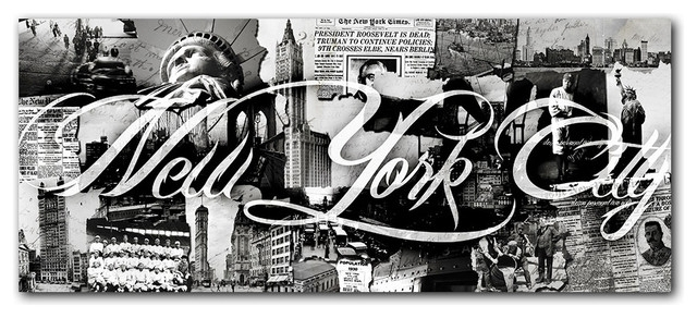 "Vintage B&w New York City"" Canvas Wall Art – Contemporary – Prints With Nyc Wall Art (View 25 of 25)"