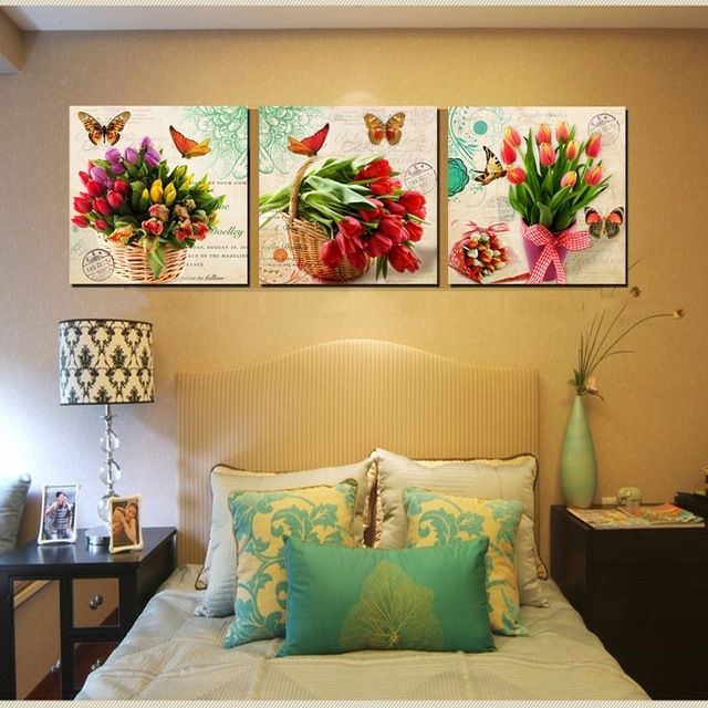 Vintage Home Decor Canvas Wall Art Bunch Floral Canvas Print Tulips Regarding Floral Canvas Wall Art (Photo 1 of 25)