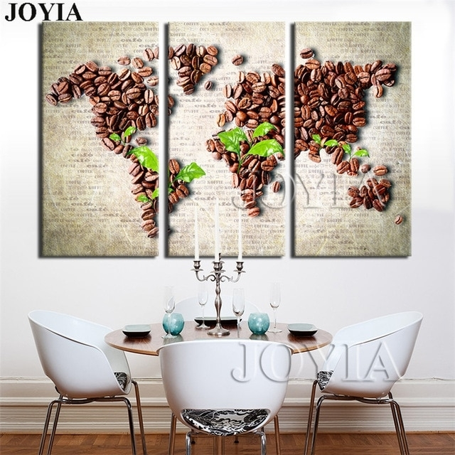 Vintage Home Decor Pictures 3 Piece Wall Art World Map Painting Set Regarding Maps Wall Art (View 15 of 25)