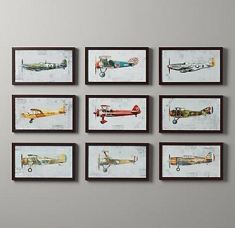 Vintage Prop Plane Art – Wall Art – Restoration Hardware Baby & Child Throughout Vintage Wall Art (View 10 of 10)