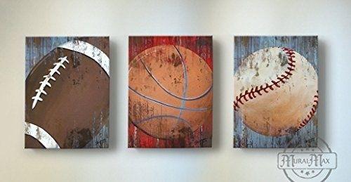 Vintage Sports Wall Art – Basketball Baseball And Football Canvas In Sports Wall Art (Image 23 of 25)