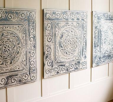 Vintage Tin Tiles, Set Of 3 – Pottery Barn Intended For Tin Wall Art (Image 23 of 25)