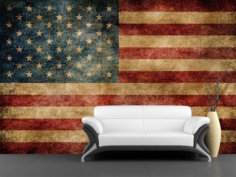 Vintage Usa Flag Decorations Wall Art Living Room Interior With Within Vintage American Flag Wall Art (Photo 7 of 25)
