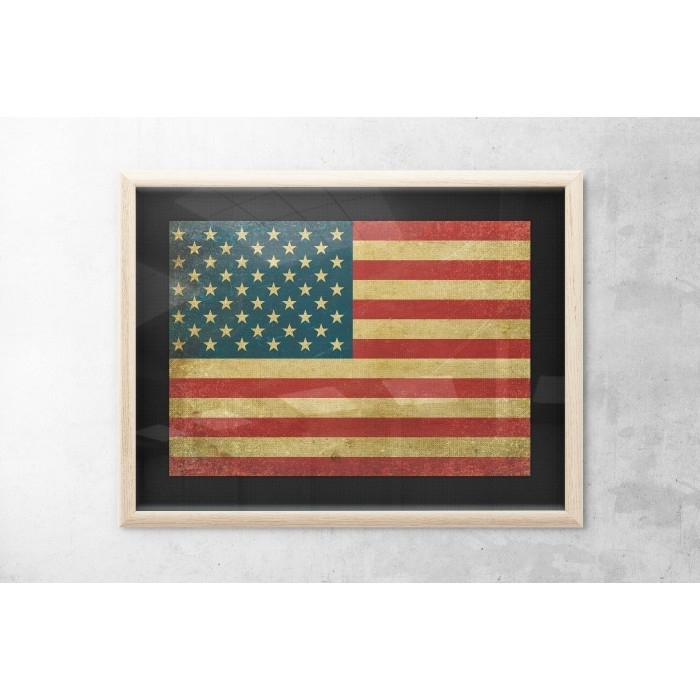 Vintage Usa Flag Wall Art – Print Of Usa Flag – 4Th Of July For Vintage American Flag Wall Art (Image 24 of 25)