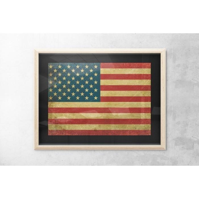 Vintage Usa Flag Wall Art – Print Of Usa Flag – 4Th Of July For Vintage American Flag Wall Art (Image 24 of 25)