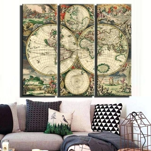 Vintage World Map Large Canvas Painting Print Unframed 3 Panel Art In Large Canvas Painting Wall Art (View 18 of 25)