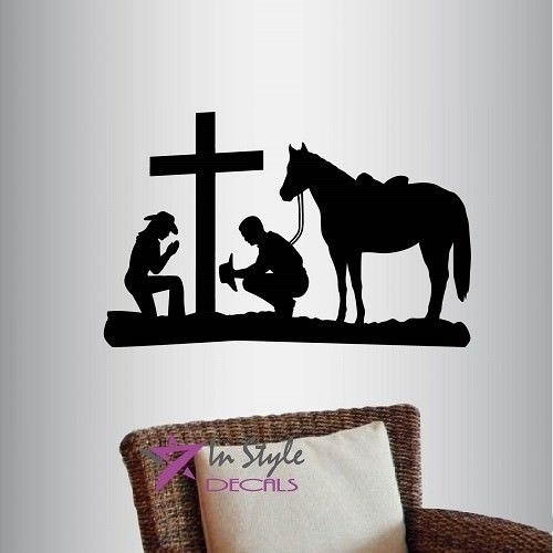 Vinyl Decal Cowboy And Cowgirl Praying Kneeling Cross Horse Western With Regard To Western Wall Art (Image 18 of 25)