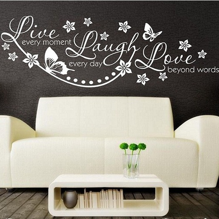 Vinyl Live Laugh Love Wall Art Sticker Lounge Room Quote Decal Mural With Regard To Live Laugh Love Wall Art (Image 23 of 25)