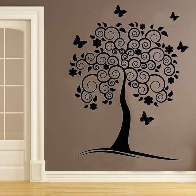 Vinyl Removable Wall Decals Swirl Flower Tree Wall Decor Sticker Diy Intended For Tree Wall Art (Photo 8 of 10)