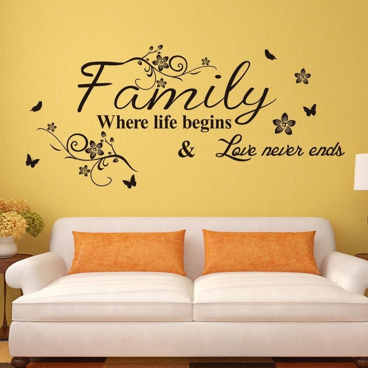 Vinyl Wall Art Decal Decor Quote Stickers Family Where Life Begins Pertaining To Vinyl Wall Art (Image 10 of 10)