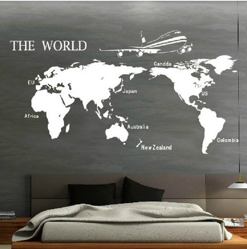 Vinyl Wall Art World World Map Vinyl Decal – Collection Of Maps Inside Vinyl Wall Art World Map (Image 22 of 25)
