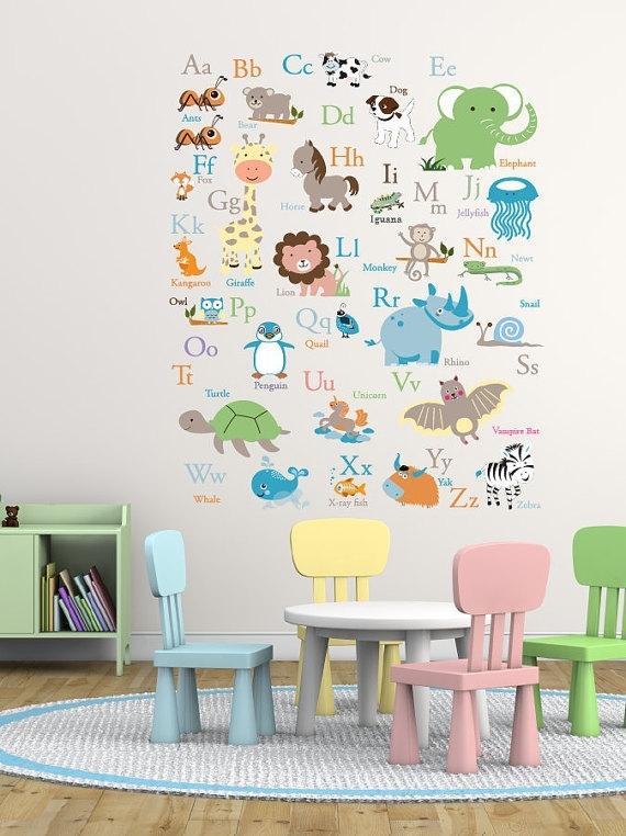 Vinyl Wall Decal Abc Wall Decal – Animal Alphabet Decal – Nursery Regarding Alphabet Wall Art (Image 24 of 25)