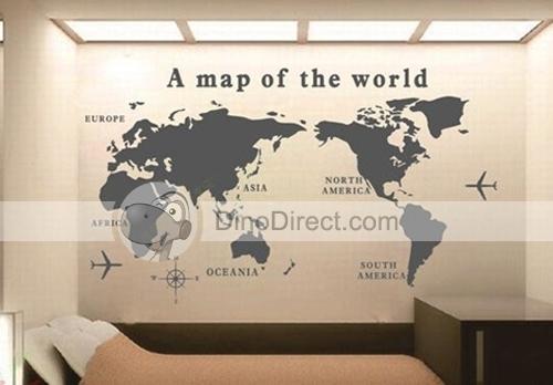 Wald Wall Art World Map Pattern Removable Wall Sticker Decal Regarding Wall Art Map Of World (Image 10 of 25)