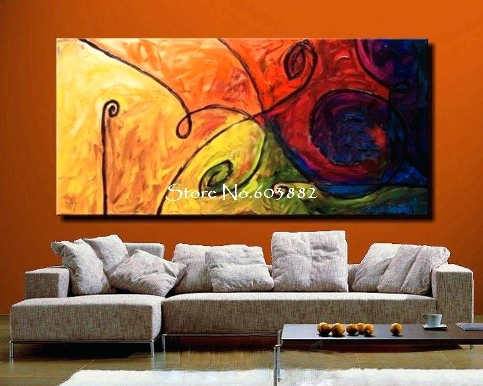 Wall Art Abstract Oil Painting Game Of Colours Curve Line Hand Made Pertaining To Modern Large Canvas Wall Art (View 22 of 25)