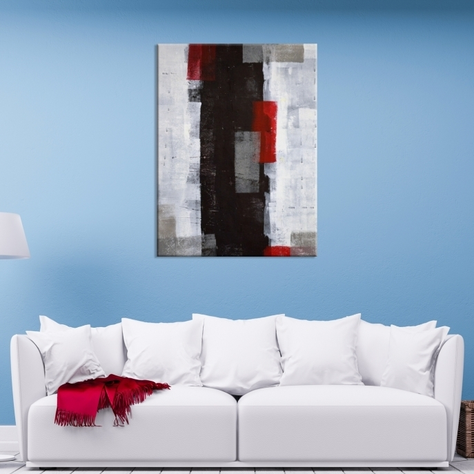 Wall Art Abstract White, Black And Red Canvas Print – Mygreatcanvas In Black And White Large Canvas Wall Art (Image 25 of 25)