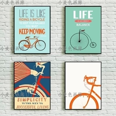 Wall Art Bicycle Bike Vintage Pop Poster A4 Wall Art Decor Canvas With Regard To Vintage Wall Art (View 8 of 10)