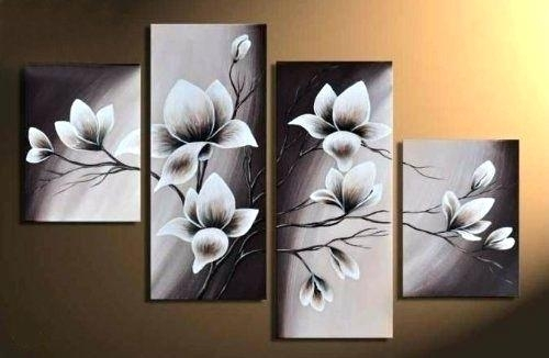 Wall Art Canvas Elegant Blooming Flowers Floral Oil Painting Wall In Wall Art Canvas (Image 10 of 10)