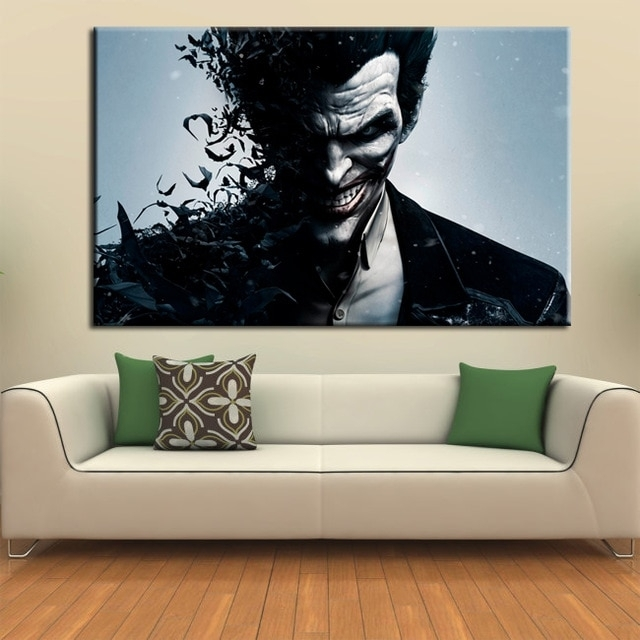 Wall Art Canvas Movie Poster Batman Joker Poster Print On Canvas In Joker Wall Art (Image 19 of 20)