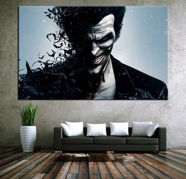 Wall Art Canvas Movie Poster Batman Joker Poster Print On Canvas Regarding Joker Wall Art (Image 20 of 20)
