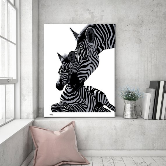 Wall Art Canvas Zebra Print Zebra Zebra Canvas Animal | Etsy Regarding Zebra Canvas Wall Art (View 18 of 25)