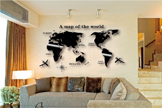 Wall Art Decal World Map Wall Sticker Globe Earth Wall Decor For With Regard To Diy World Map Wall Art (Image 23 of 25)
