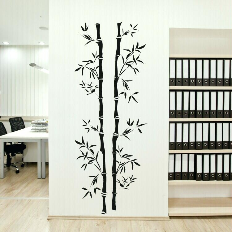 Wall Art Decor Stickers Two Stickers Bamboo Wall Art Room Office Within Bamboo Wall Art (Image 23 of 25)