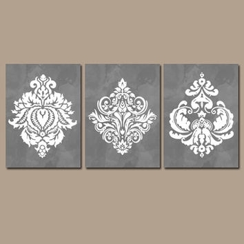 Wall Art Design Ideas: White Flowers Damask Wall Art Watercolor Throughout Grey Wall Art (View 22 of 25)