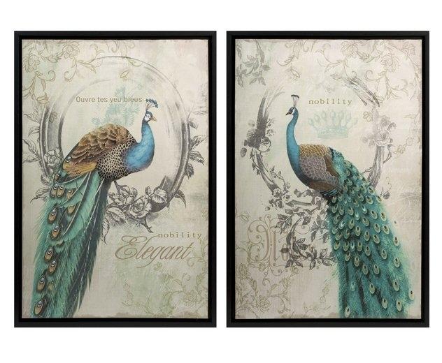 Wall Art Designs: Peacock Wall Art Panache Peacock Birds Framed Regarding Bird Framed Canvas Wall Art (View 3 of 25)