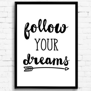 Wall Art Designs: Printable Wall Art Follow Your Dreams Black In Free Printable Wall Art Decors (Image 20 of 20)