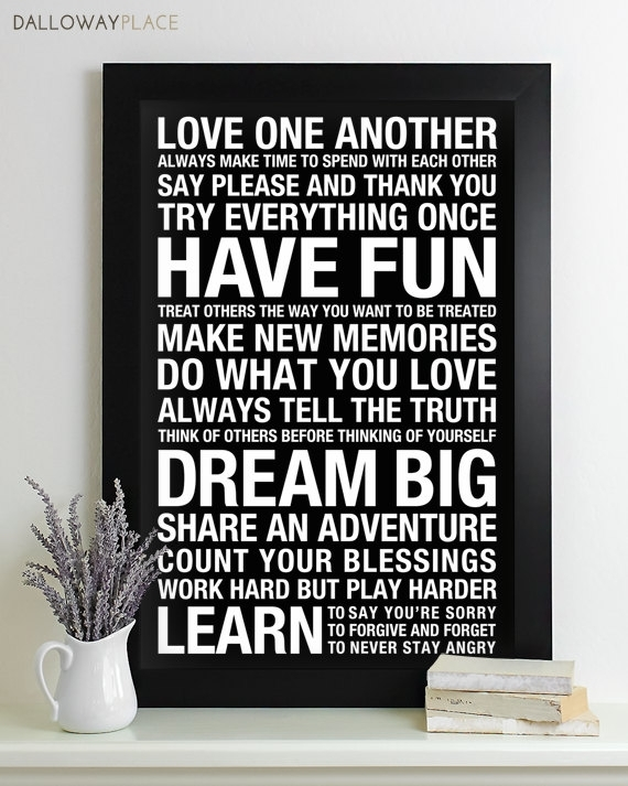 Wall Art Family Rules Sign Subway – House Rules Playroom Print Inside Family Rules Wall Art (Image 18 of 20)