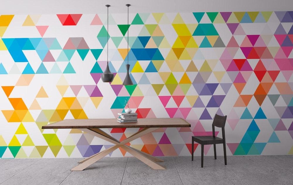 Wall Art Geometric Mid Century Triangles – Moonwallstickers Regarding Geometric Wall Art (View 3 of 20)