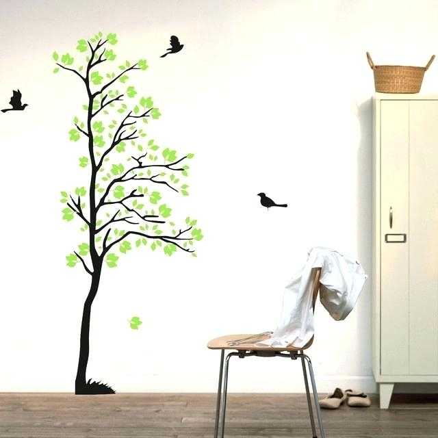 Wall Art Leaves Wall Decals Tree Flying Birds Wall Art Green Leaves Regarding Nature Wall Art (View 13 of 25)