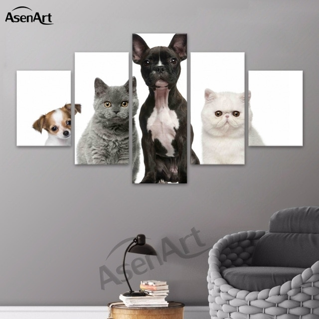 Wall Art Lovely Animal Dog And Cat Canvas Painting Prints Poster Pertaining To Cat Canvas Wall Art (View 13 of 25)