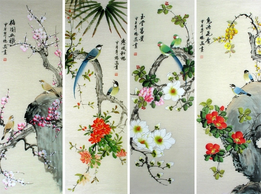 Wall Art Painting Chinese Scroll Artwork Original Bird Flower With Regard To Chinese Wall Art (View 16 of 25)