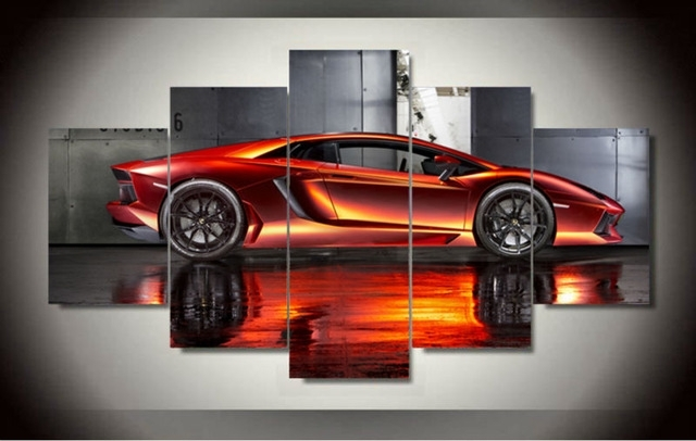 Wall Art Picture 5 Panel Cool Orange Reflective Sports Car Large Hd Pertaining To Car Canvas Wall Art (View 4 of 25)