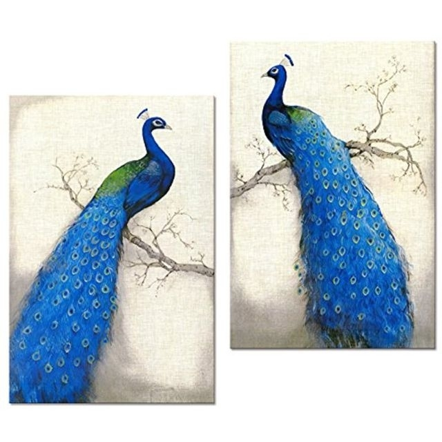 Wall Art Print Canvas Set 2 Peacock Frame Ready Hanging Home Decor Inside Set Of 2 Framed Wall Art (Image 19 of 25)
