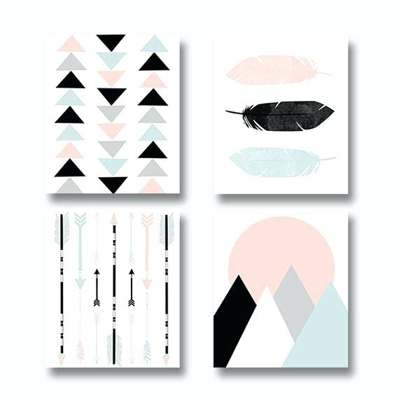 Wall Art Set Of 4 Feathered Beauty Prints 4 Piece Framed Graphic Art Intended For Wall Art Prints (View 14 of 20)