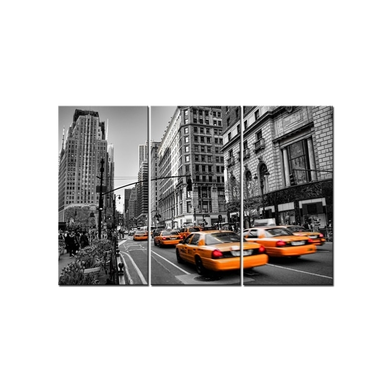 Wall Art Triptych Canvas Prints – Yellow Taxis In New York – Home Pertaining To New York Wall Art (View 21 of 25)