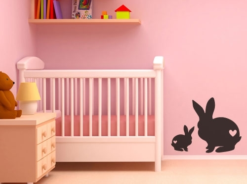 Wall Decals – Cute Baby Bunny Rabbits With Hearts Vinyl Wall Art Regarding Bunny Wall Art (Image 17 of 20)