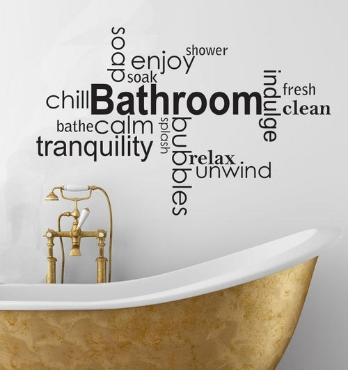 Wall Decals – Soothing Bathroom Vinyl Wall Art Words Decal Sticker Intended For Word Wall Art (View 4 of 20)